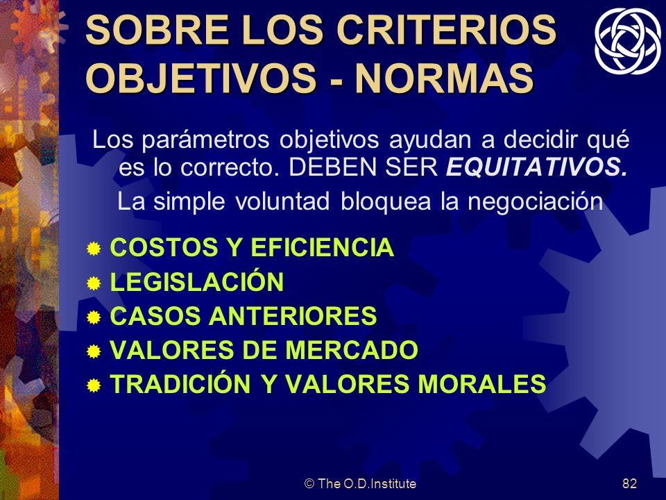 SOBRE LOS CRITERIOS OBJETIVOS - NORMAS