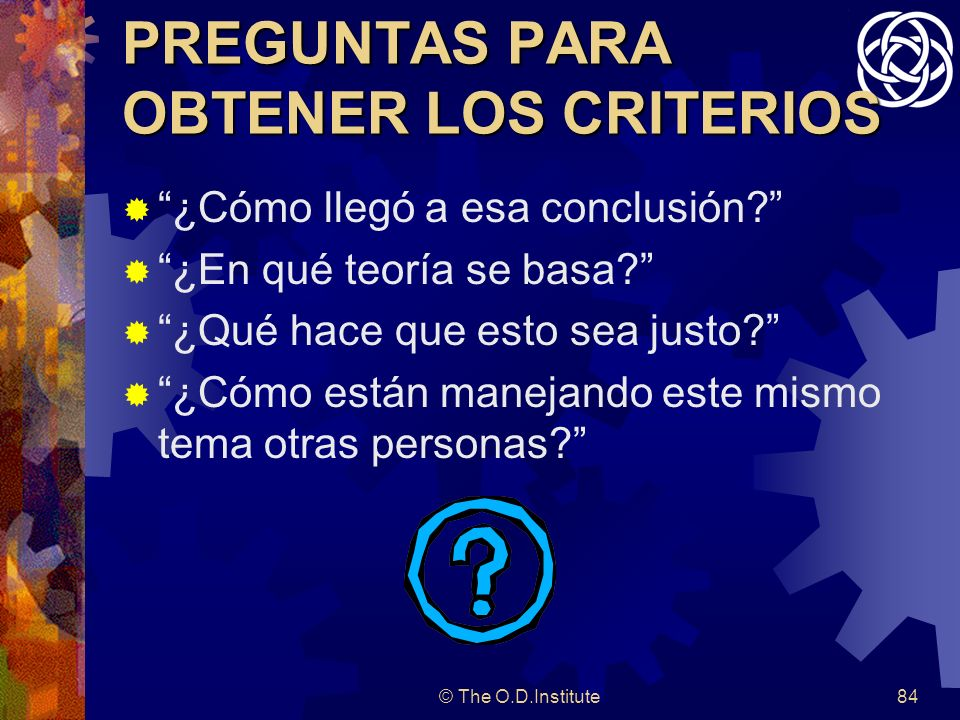 PREGUNTAS PARA OBTENER LOS CRITERIOS