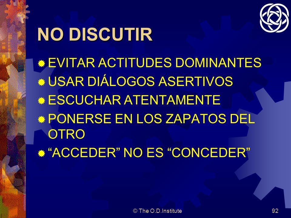 NO DISCUTIR EVITAR ACTITUDES DOMINANTES USAR DIÁLOGOS ASERTIVOS