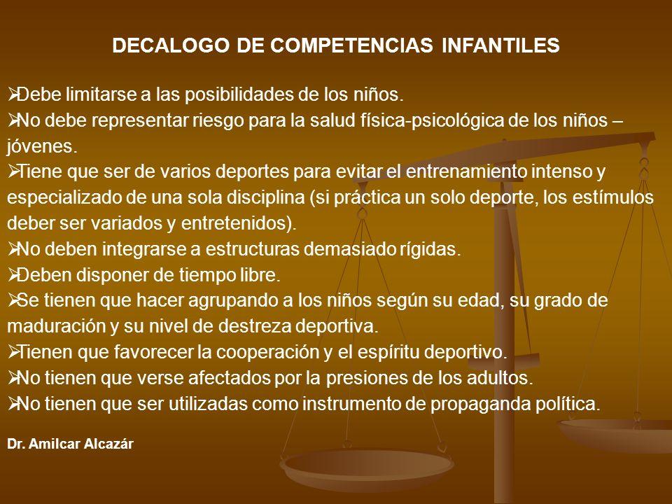DECALOGO DE COMPETENCIAS INFANTILES