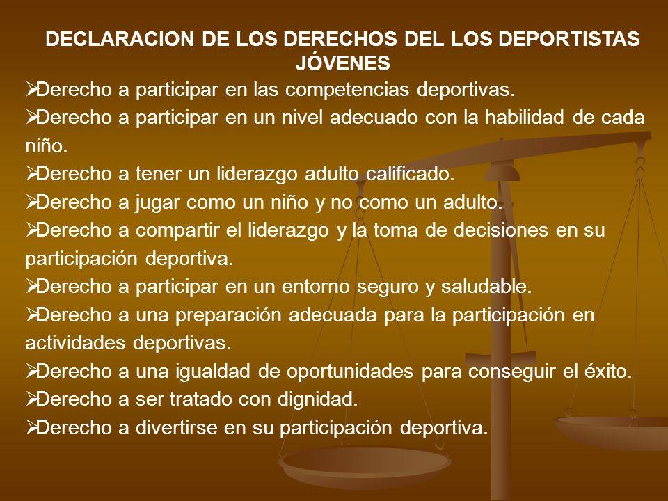 DECLARACION DE LOS DERECHOS DEL LOS DEPORTISTAS JÓVENES
