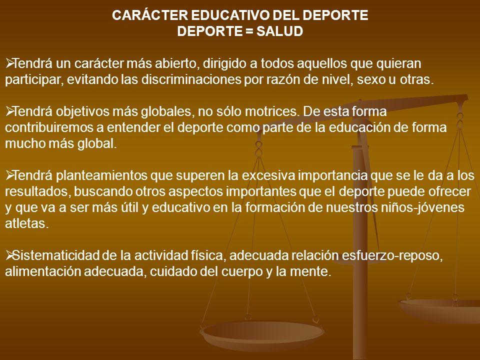 CARÁCTER EDUCATIVO DEL DEPORTE