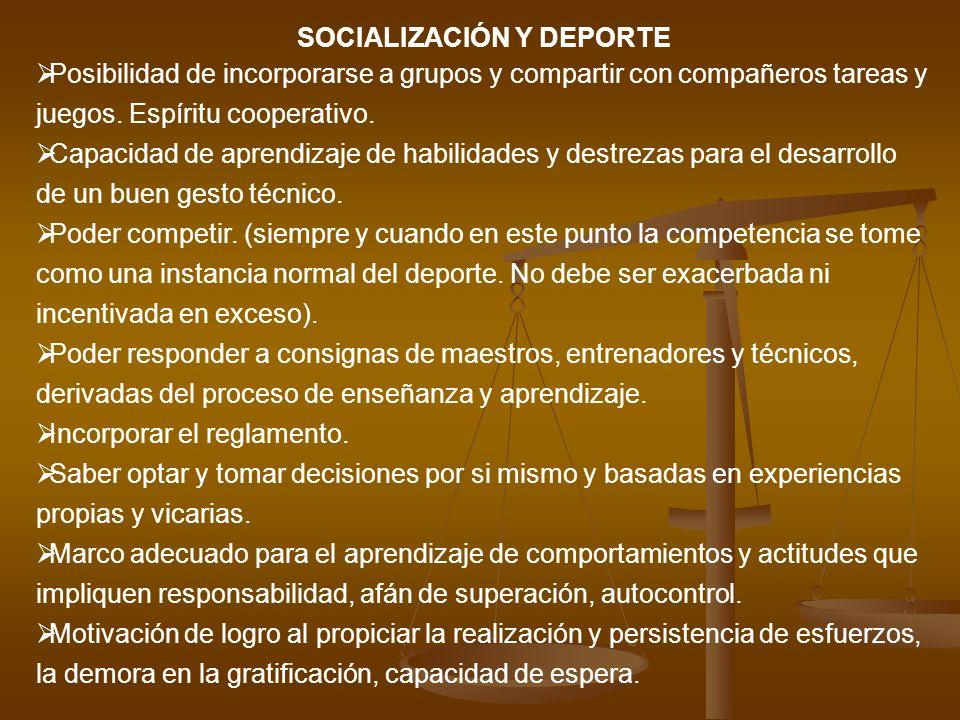 SOCIALIZACIÓN Y DEPORTE