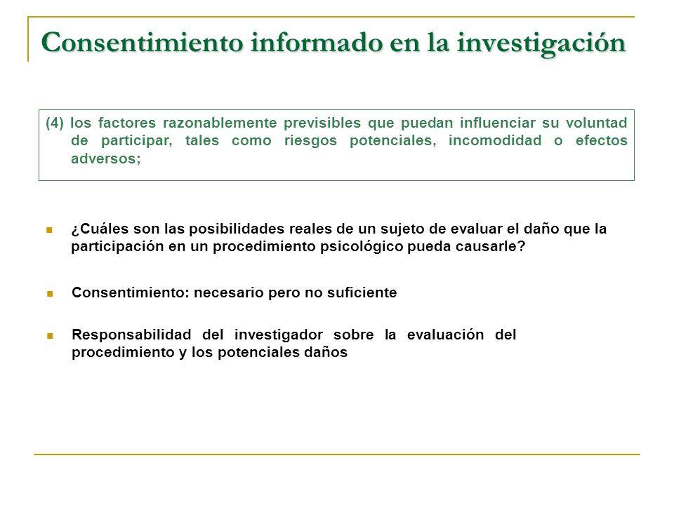 Consentimiento informado en la investigación