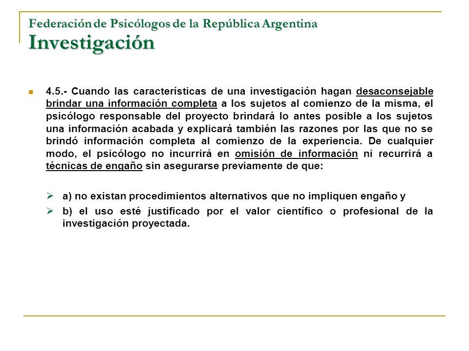Federación de Psicólogos de la República Argentina Investigación