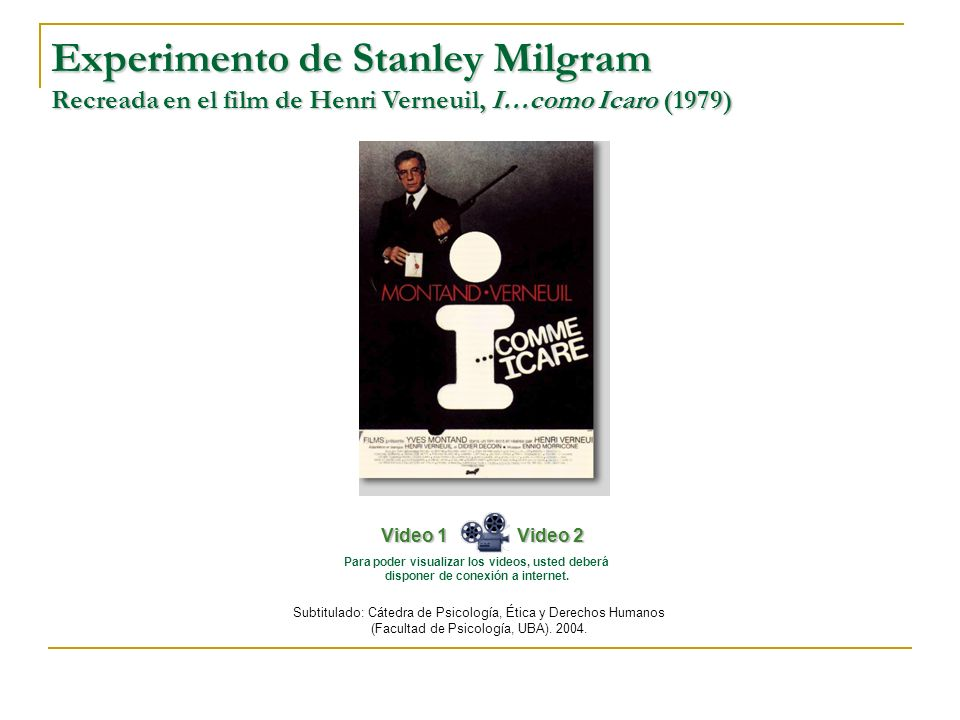 Experimento de Stanley Milgram Recreada en el film de Henri Verneuil, I…como Icaro (1979)