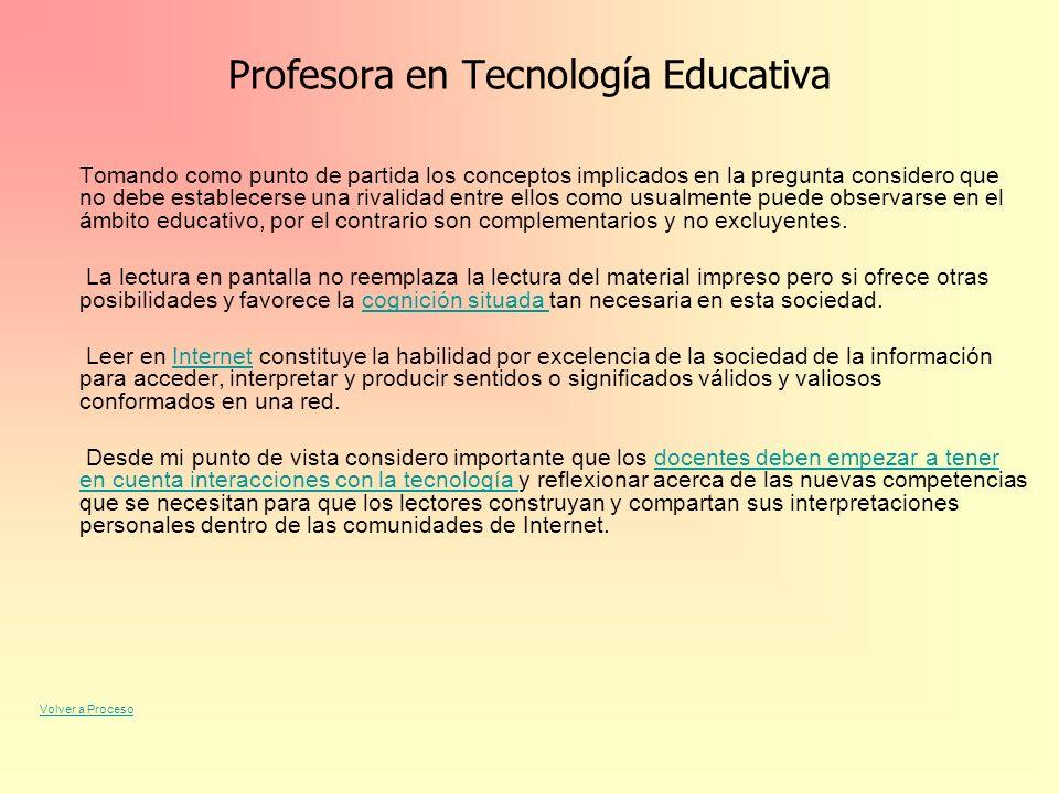 Profesora en Tecnología Educativa