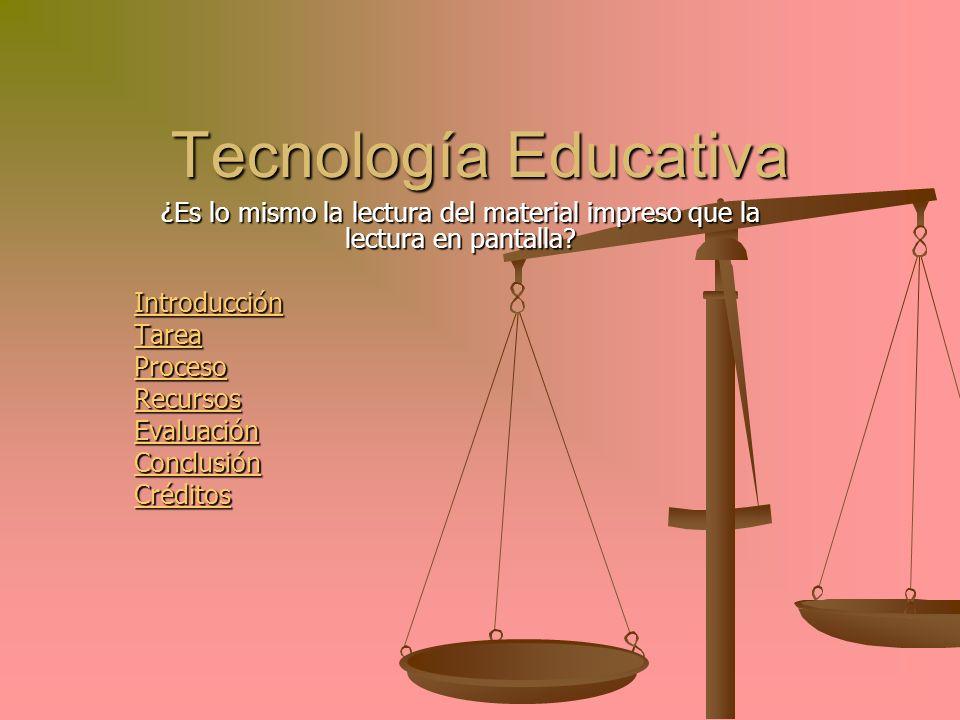 Tecnología Educativa ¿Es lo mismo la lectura del material impreso que la lectura en pantalla Introducción.