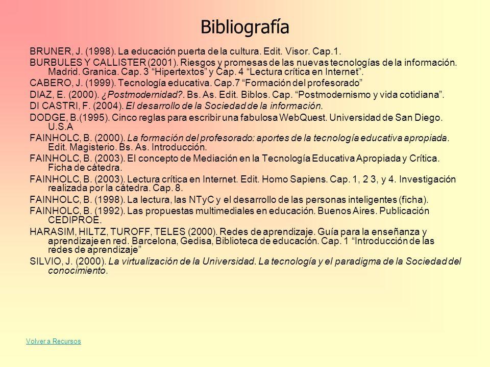Bibliografía BRUNER, J. (1998). La educación puerta de la cultura. Edit. Visor. Cap.1.