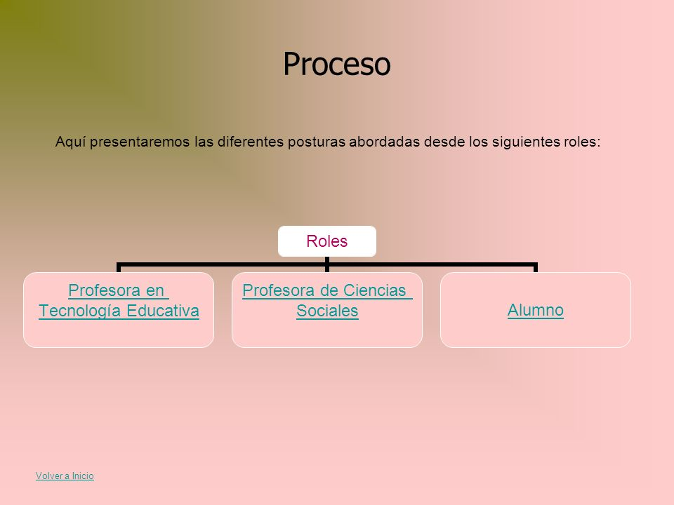 Proceso Aquí presentaremos las diferentes posturas abordadas desde los siguientes roles: Volver a Inicio.