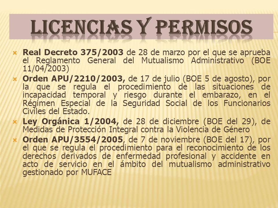 Licencias y permisos Real Decreto 375/2003 de 28 de marzo por el que se aprueba el Reglamento General del Mutualismo Administrativo (BOE 11/04/2003)