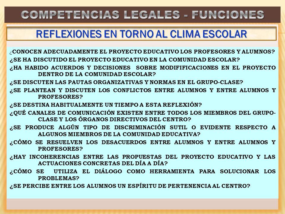 COMPETENCIAS LEGALES - FUNCIONES REFLEXIONES EN TORNO AL CLIMA ESCOLAR