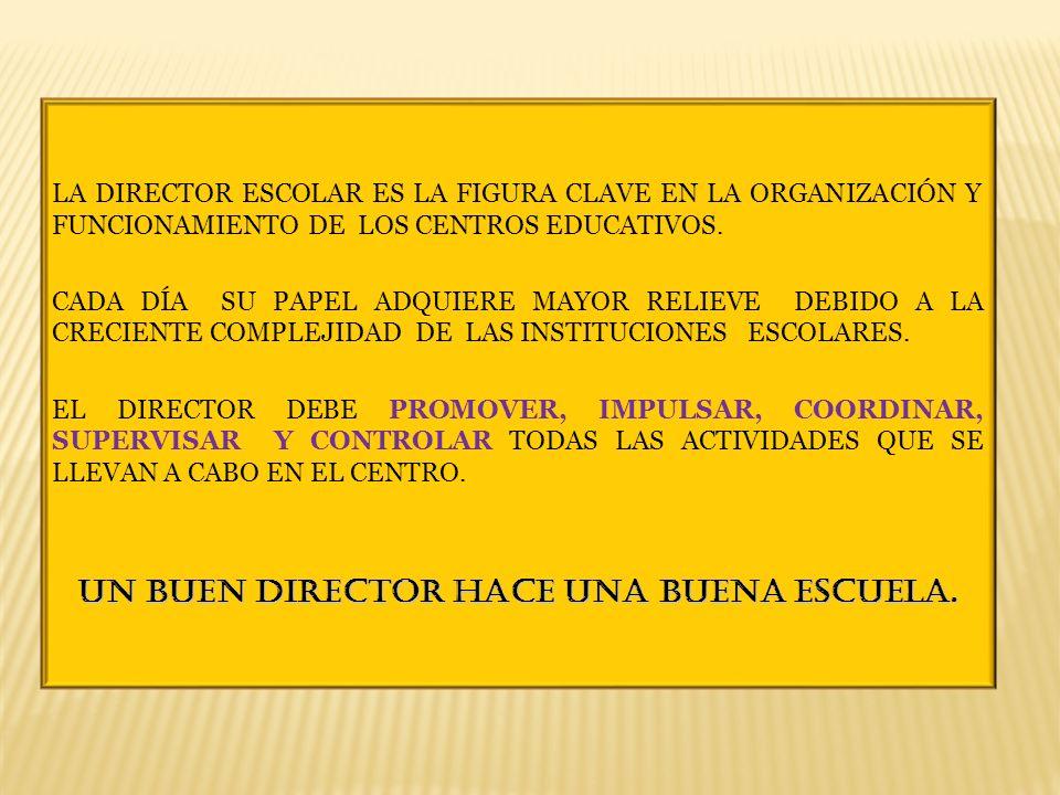 UN BUEN DIRECTOR HACE UNA BUENA ESCUELA.