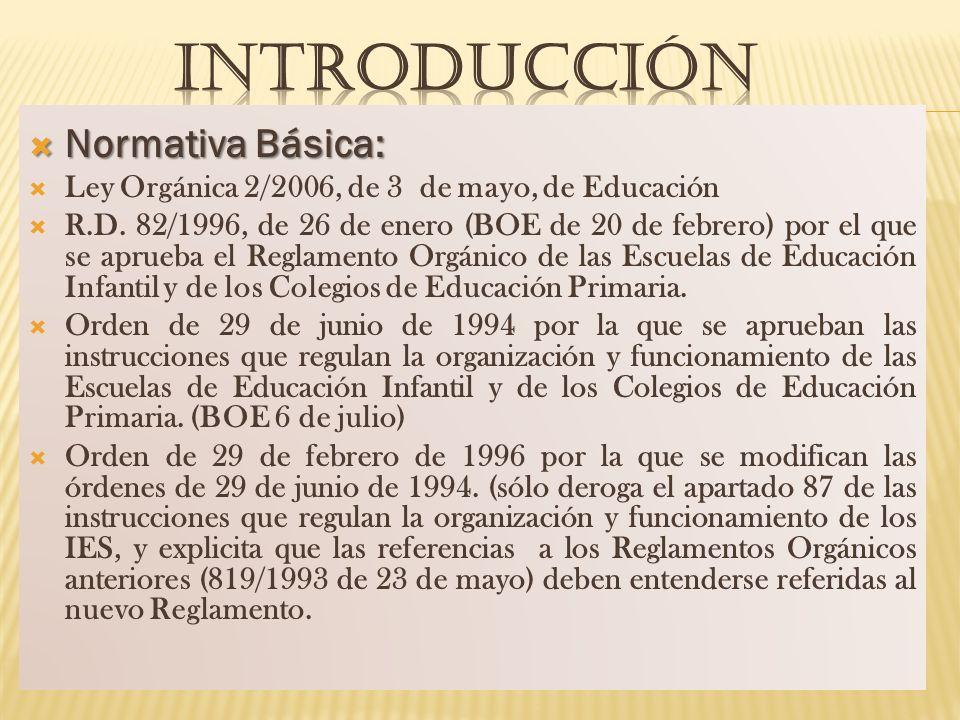 INTRODUCCIÓN Normativa Básica: