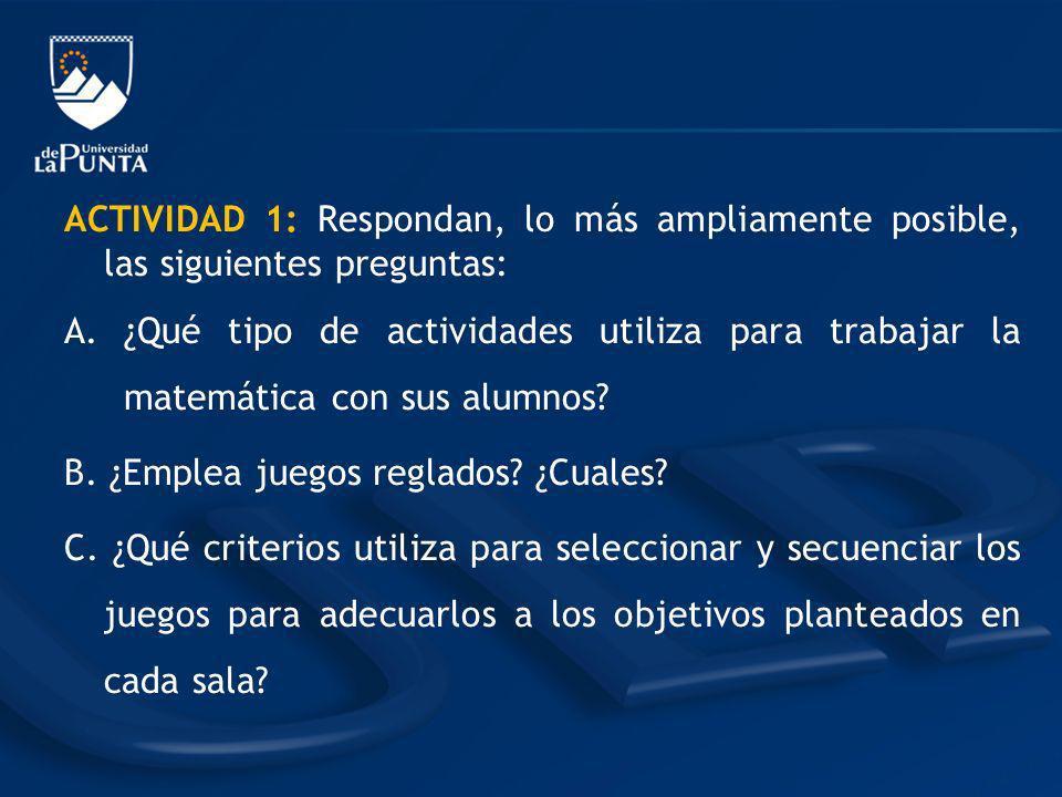 ACTIVIDAD 1: Respondan, lo más ampliamente posible, las siguientes preguntas:
