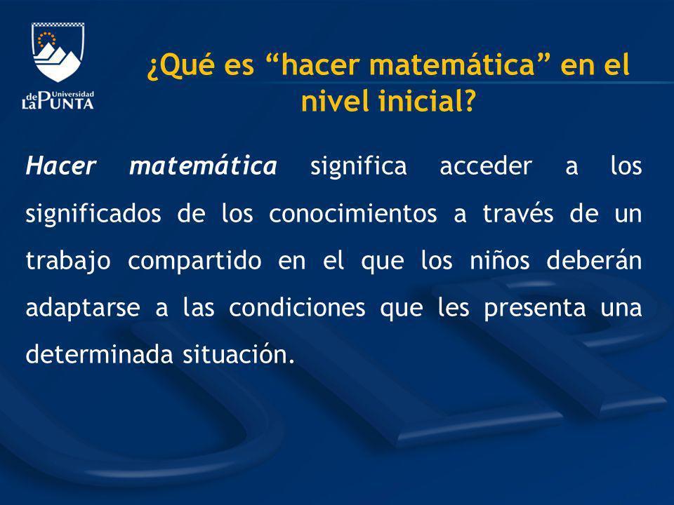 ¿Qué es hacer matemática en el nivel inicial