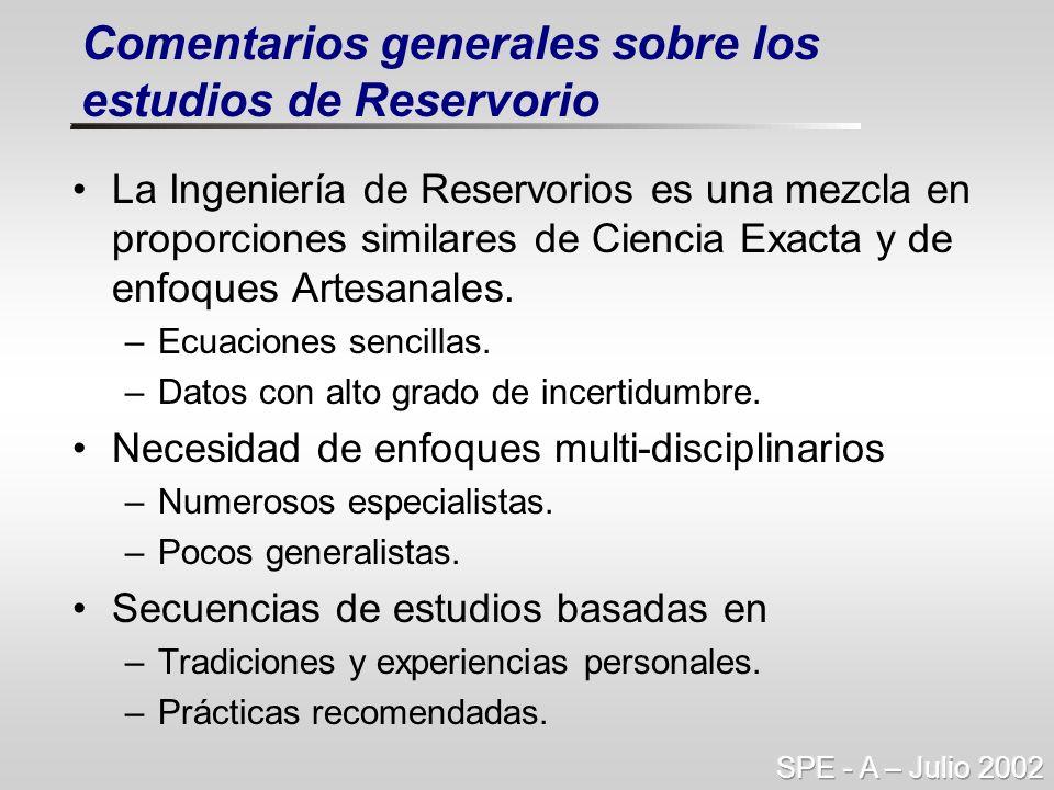 Comentarios generales sobre los estudios de Reservorio