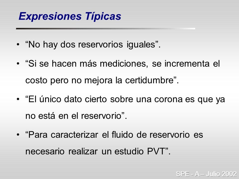 Expresiones Típicas No hay dos reservorios iguales .