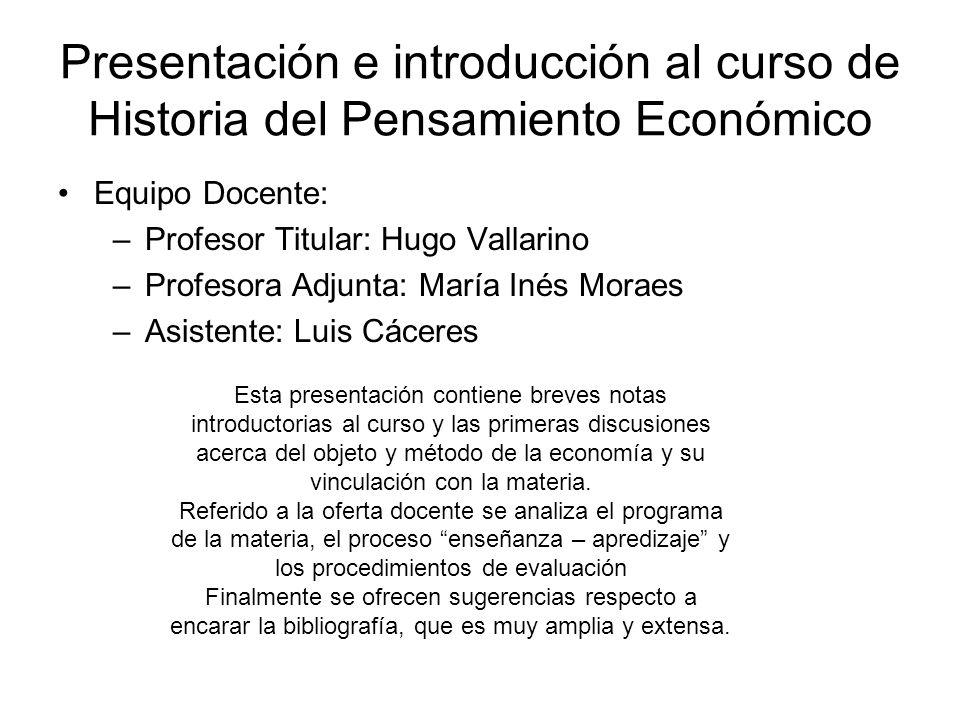 Presentación e introducción al curso de Historia del Pensamiento Económico