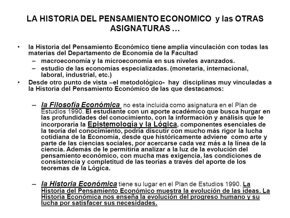 LA HISTORIA DEL PENSAMIENTO ECONOMICO y las OTRAS ASIGNATURAS …