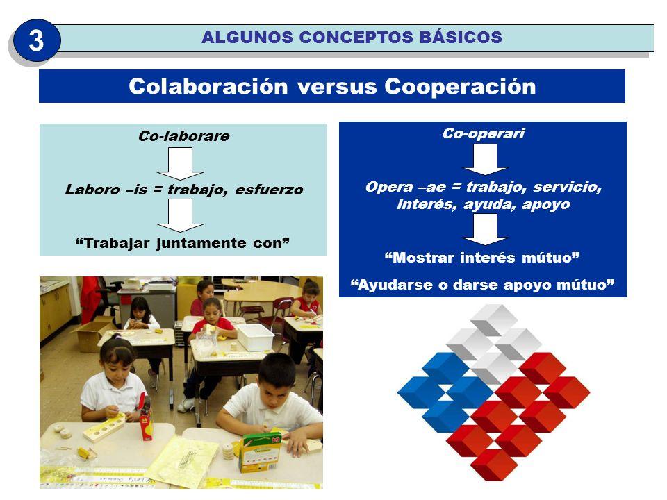 3 Colaboración versus Cooperación ALGUNOS CONCEPTOS BÁSICOS Co-operari