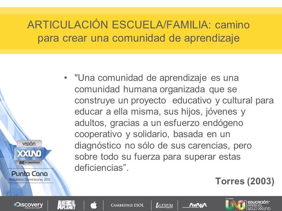 ARTICULACIÓN ESCUELA/FAMILIA: camino para crear una comunidad de aprendizaje