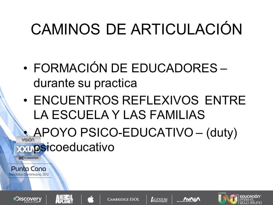CAMINOS DE ARTICULACIÓN