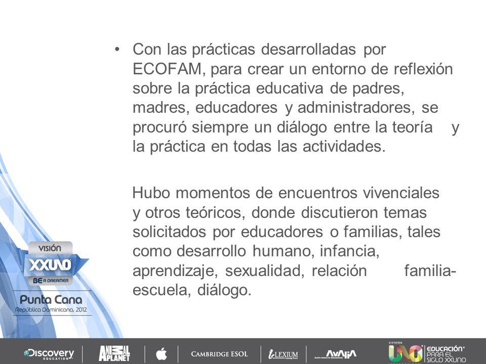 Con las prácticas desarrolladas por ECOFAM, para crear un entorno de reflexión sobre la práctica educativa de padres, madres, educadores y administradores, se procuró siempre un diálogo entre la teoría y la práctica en todas las actividades.