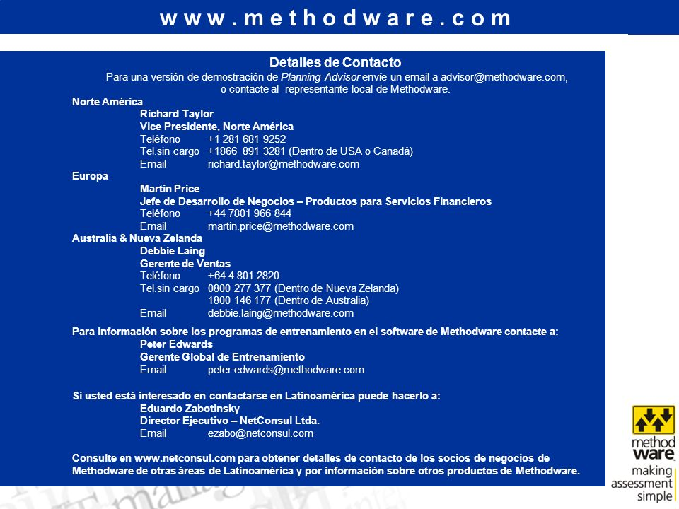 o contacte al representante local de Methodware.