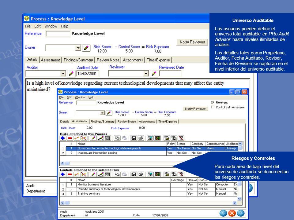 Universo Auditable Los usuarios pueden definir el universo total auditable en PRo Audit Advisor hasta niveles ilimitados de análisis.