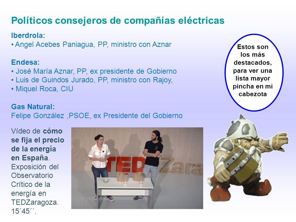 Políticos consejeros de compañías eléctricas