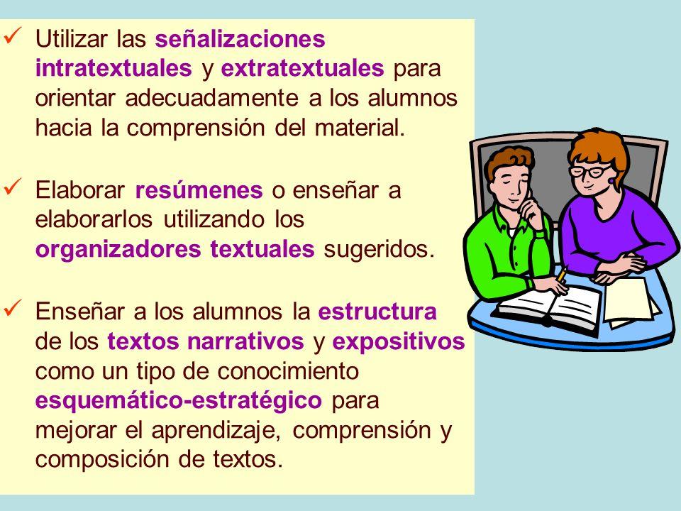 Utilizar las señalizaciones intratextuales y extratextuales para orientar adecuadamente a los alumnos hacia la comprensión del material.