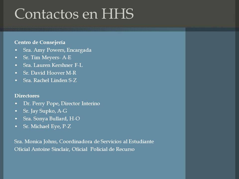 Contactos en HHS Centro de Consejería Sra. Amy Powers, Encargada