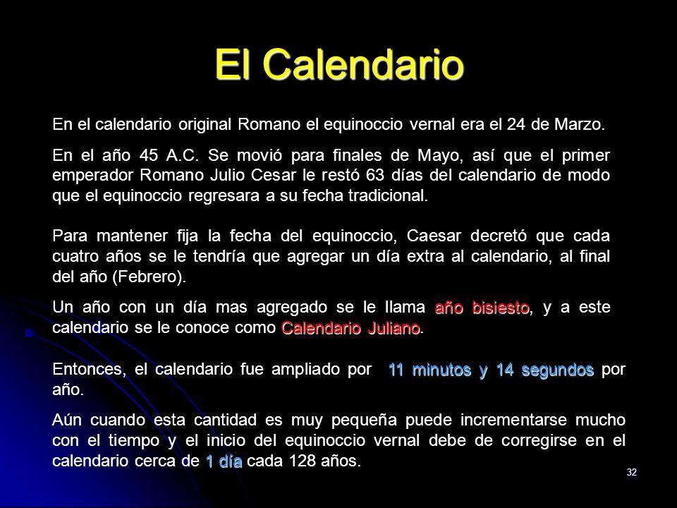 El Calendario En el calendario original Romano el equinoccio vernal era el 24 de Marzo.