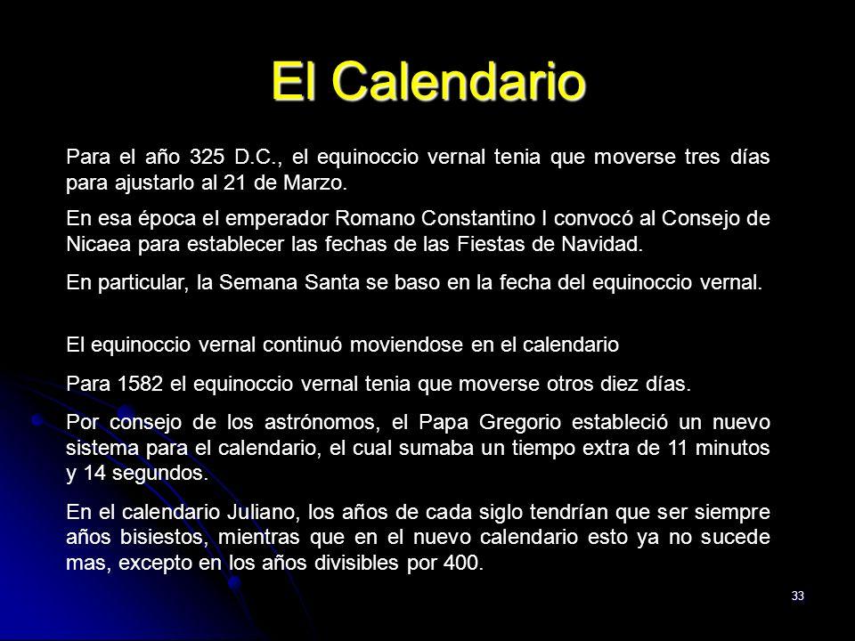 El Calendario Para el año 325 D.C., el equinoccio vernal tenia que moverse tres días para ajustarlo al 21 de Marzo.