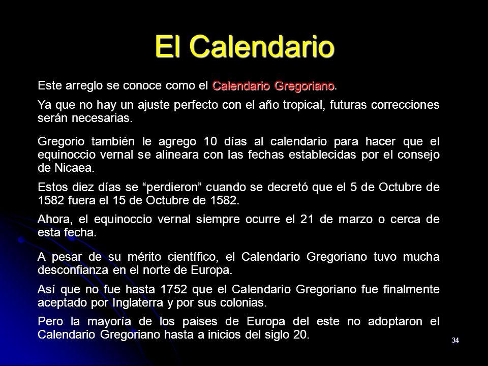 El Calendario Este arreglo se conoce como el Calendario Gregoriano.