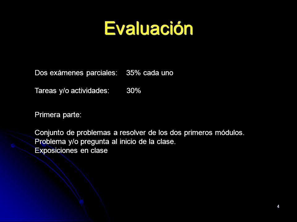 Evaluación Dos exámenes parciales: 35% cada uno