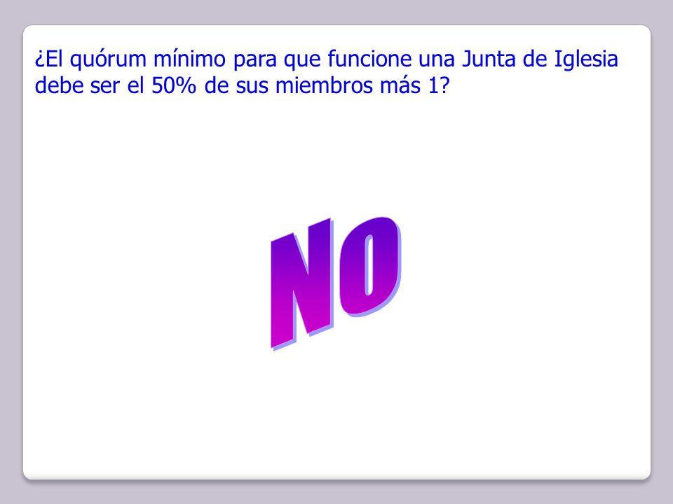 ¿El quórum mínimo para que funcione una Junta de Iglesia debe ser el 50% de sus miembros más 1