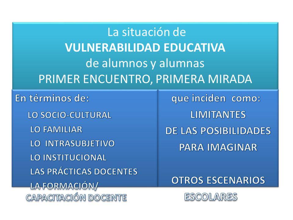 La situación de VULNERABILIDAD EDUCATIVA de alumnos y alumnas