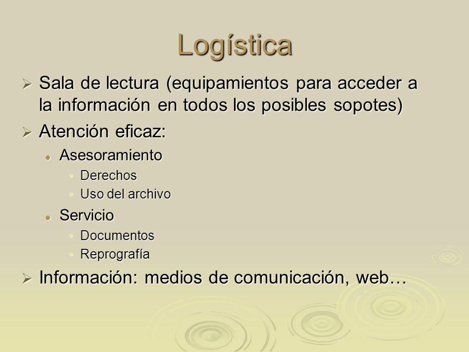 Logística Sala de lectura (equipamientos para acceder a la información en todos los posibles sopotes)