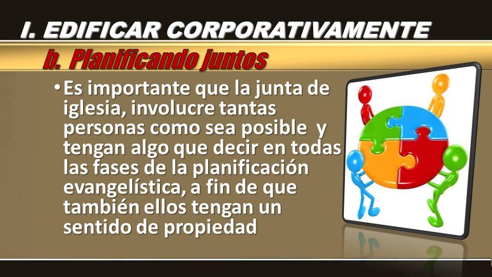 b. Planificando juntos I. EDIFICAR CORPORATIVAMENTE