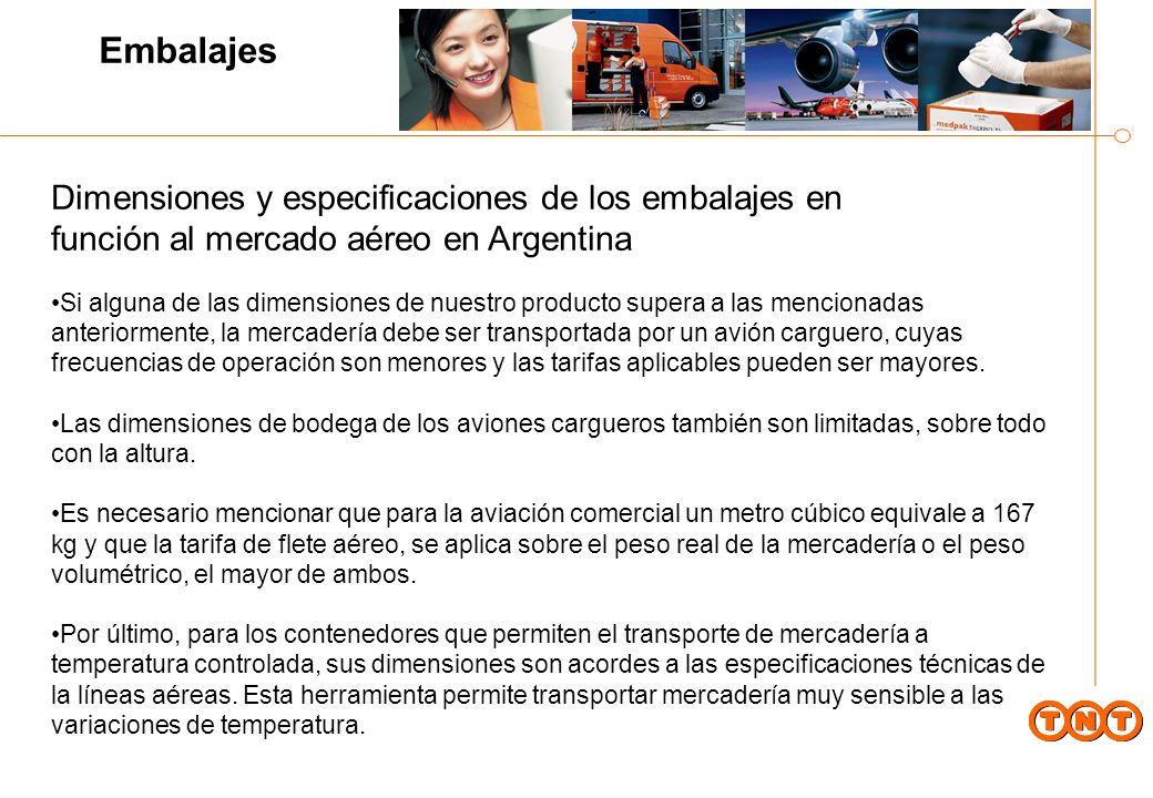 Embalajes Dimensiones y especificaciones de los embalajes en función al mercado aéreo en Argentina.