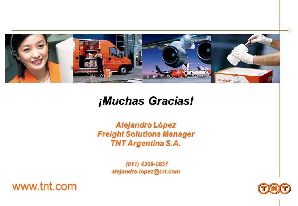 ¡Muchas Gracias! Alejandro López Freight Solutions Manager TNT Argentina S.A. (011) 4309-0837 alejandro.lopez@tnt.com