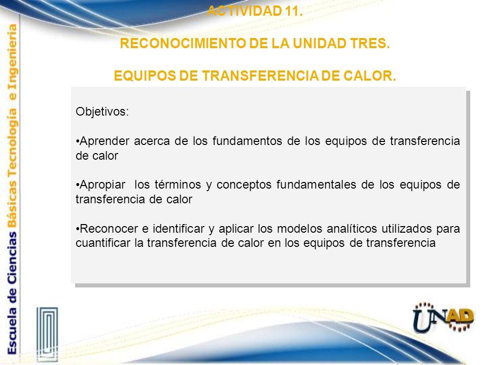 RECONOCIMIENTO DE LA UNIDAD TRES. EQUIPOS DE TRANSFERENCIA DE CALOR.