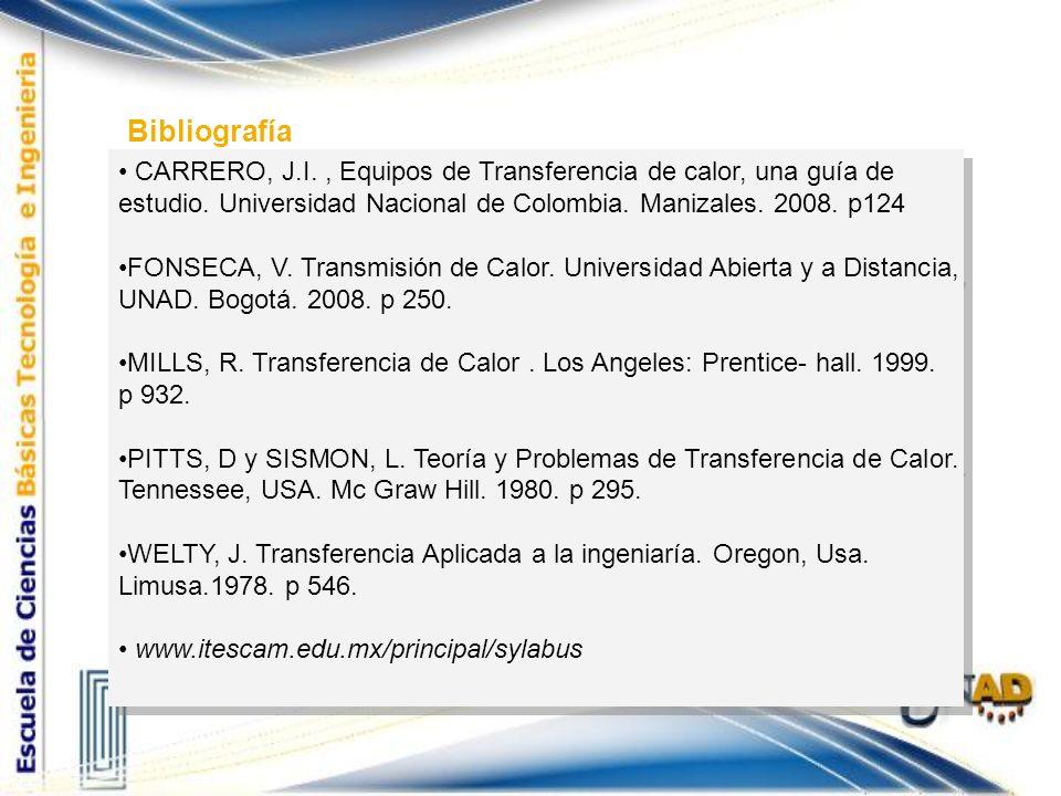 Bibliografía CARRERO, J.I. , Equipos de Transferencia de calor, una guía de estudio. Universidad Nacional de Colombia. Manizales. 2008. p124.