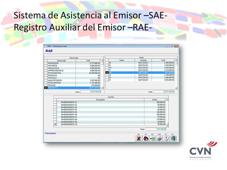 Sistema de Asistencia al Emisor –SAE- Registro Auxiliar del Emisor –RAE-