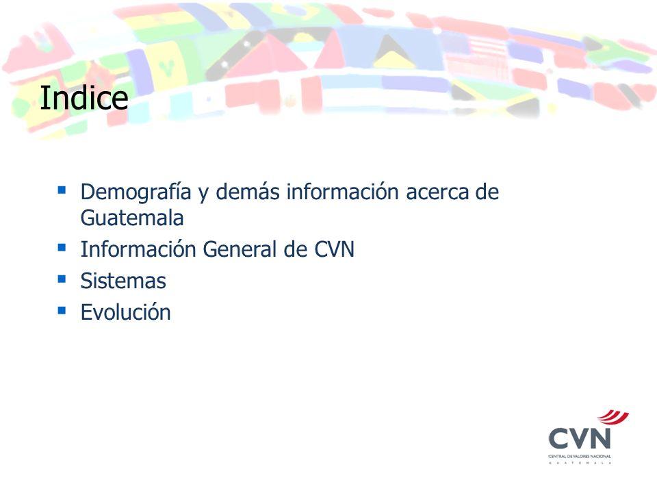 Indice Demografía y demás información acerca de Guatemala