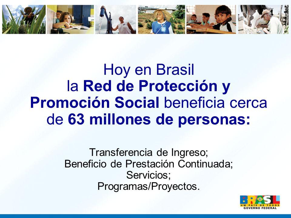 Hoy en Brasil la Red de Protección y Promoción Social beneficia cerca de 63 millones de personas: Transferencia de Ingreso; Beneficio de Prestación Continuada; Servicios; Programas/Proyectos.