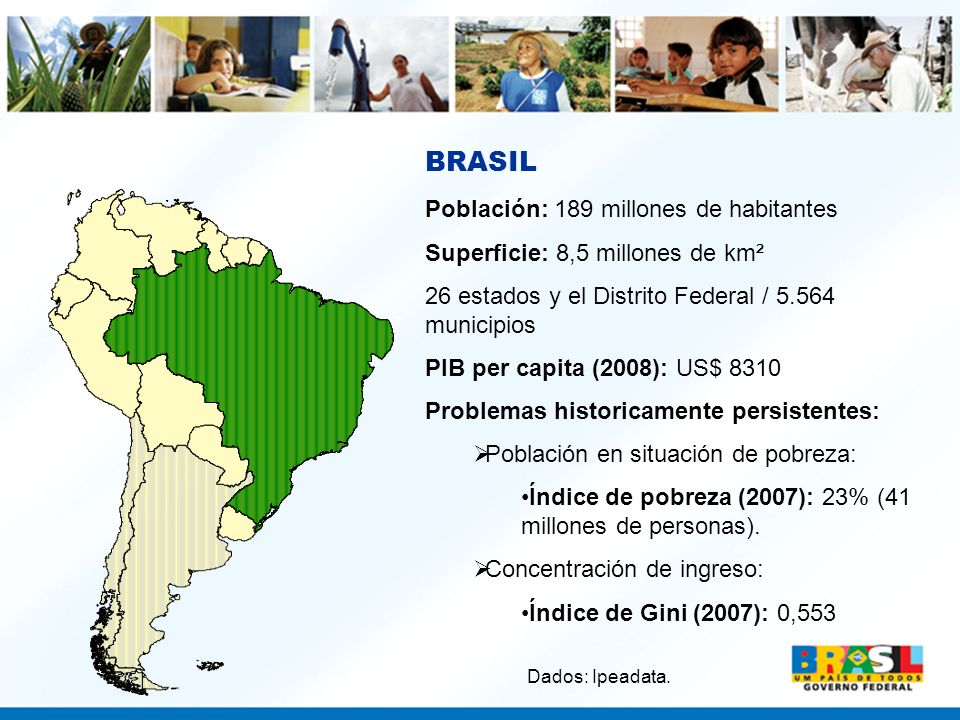 BRASIL Población: 189 millones de habitantes