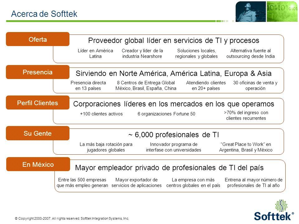 Acerca de Softtek Proveedor global líder en servicios de TI y procesos